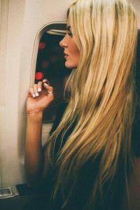 blond on plane